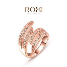 ROXI Ring 2015 Fashion New Women Engagement Austrian Crystal 24K Rose Gold Filled Full Size Zircon Wings Ring Wedding Jewelry