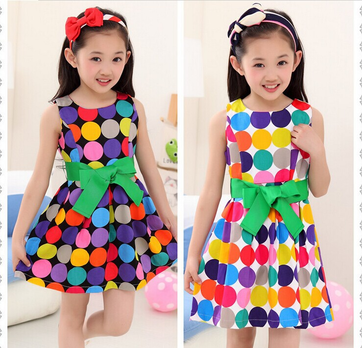 Summer models children dress girls summer 2014 new large high-grade cotton dot sleeveless princess dress tide(China (Mainland))