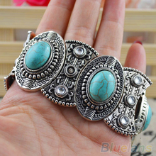 Classical Women's Retro Vintage Natural Turquoise Cute Tibet Silver Bracelet  2JS9(China (Mainland))