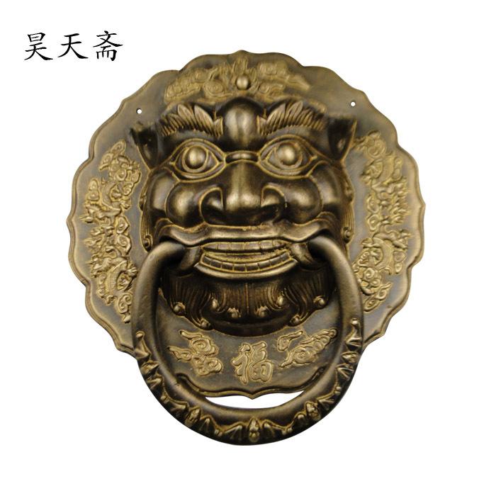 Здесь можно купить  [Haotian vegetarian] Chinese ancient knocker handle copper ring copper beast lion head door handle King  Аппаратные средства