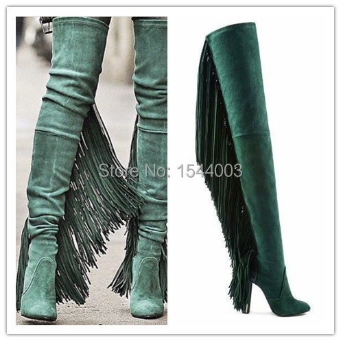 Suede High Heel Long Boots Fringe Over The Knee Boots Tassel Botas Femininas Cano Longo New Horse Riding Womens Thigh High Boots(China (Mainland))