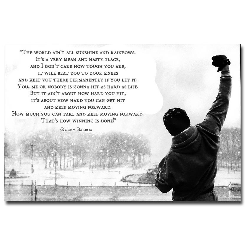 Rocky balboa motivational quotes art silk fabric poster canvas print 13x20 24x36 inches movie - Rocky wallpaper with quotes ...