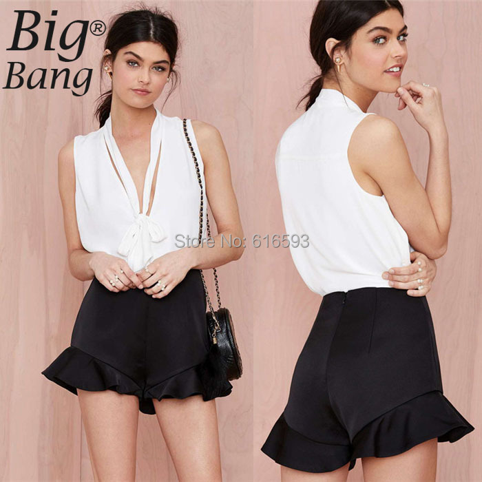 Shorts Skirts Classic Solid Color Plus Size Women Shorts High Waist Ruffle Sweep Wide Leg 2015 Summer XXL Shorts Black M15011305(China (Mainland))