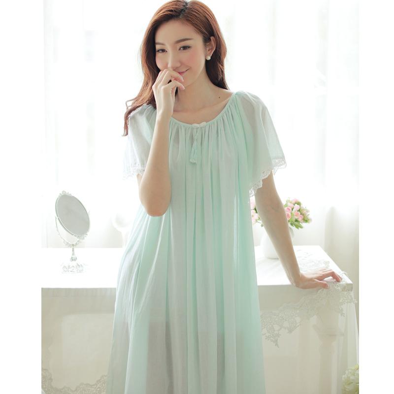 New Listing 2016 Cotton Women Nightgowns Princess Sleepwear Lace Long Nightdress Round Neck Female Summer Short Sleeve Lingerie(China (Mainland))