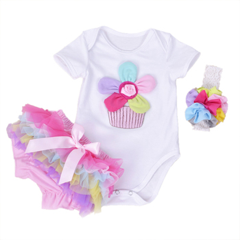 New Summer Baby Girl Clothing Cotton Rainbow Flower Short Sleeve Rompers And Ruffle Bloomers Newborn Infant Girls Clothes Sets