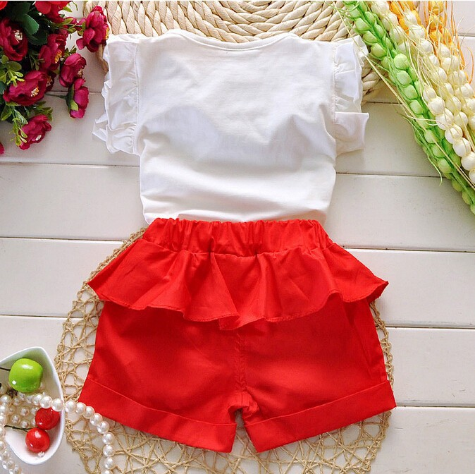 Retail 2015 Summer New Arrival Girls Clothing Set Shirt+Shorts 2 PCS Set Girl Clothes Kids Suits
