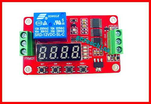 1 One Channel DC 12V delay on/off Cycle timer switch on/off self-locking Multifunction relay module + red voltmeter display(China (Mainland))