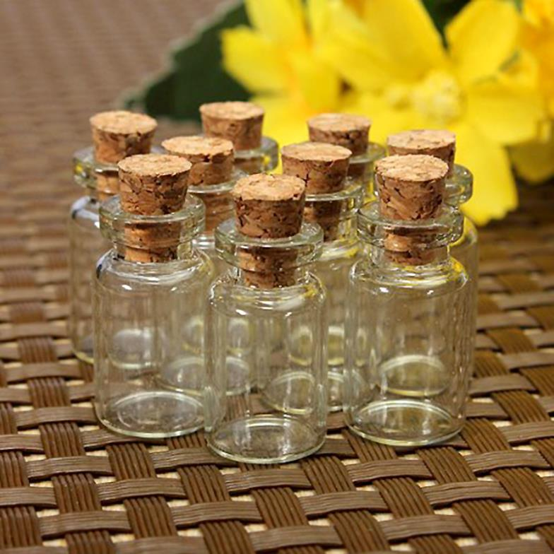 10 pcs Cute Mini Clear Cork Stopper Glass Bottles Vials Jars Containers Small Wishing Bottle#ZH210(China (Mainland))
