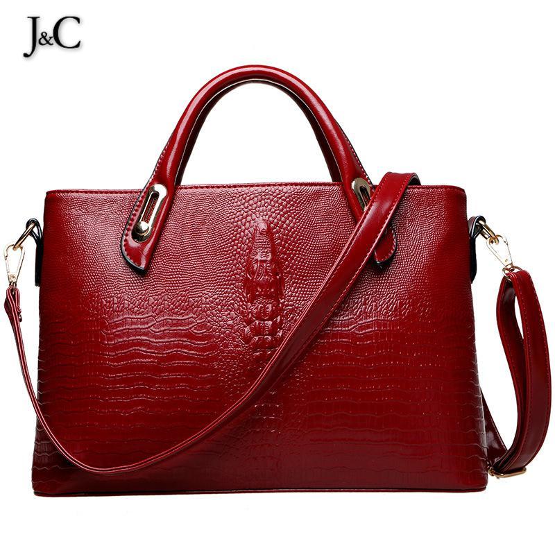 J&C 2016 Alligator Saffiano Women Bag Luxury Hangbags Women Bags Designer Cheap Handbags Free Shipping Black/Red FB226(China (Mainland))