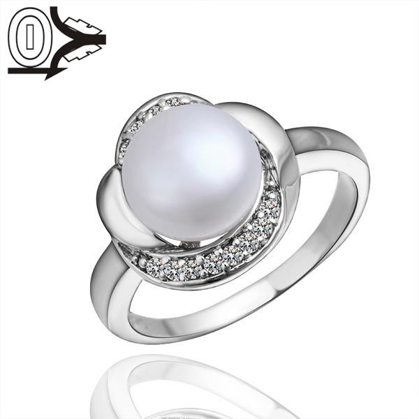 R003-8 Wholesale Latest Imitation Pearl Ring Designs For Women,Platinum/Silver Plated Ladies Rings For Girl(China (Mainland))