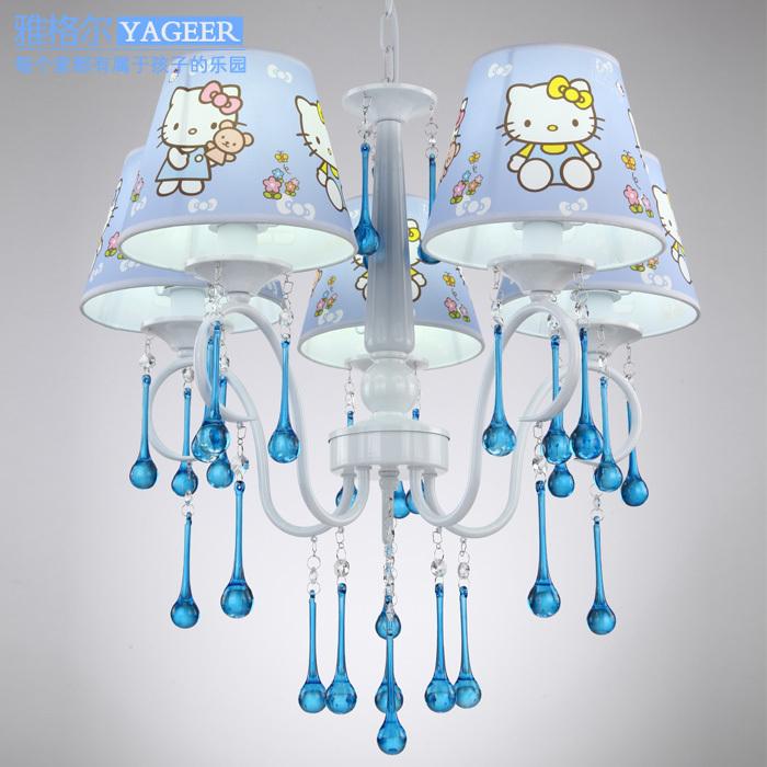 Creative Cartoon Blue Hello Kitty Pendant Light Crystal Accessory Girls' Favourite Bedroom Light 5 Light Include Bulbs(China (Mainland))