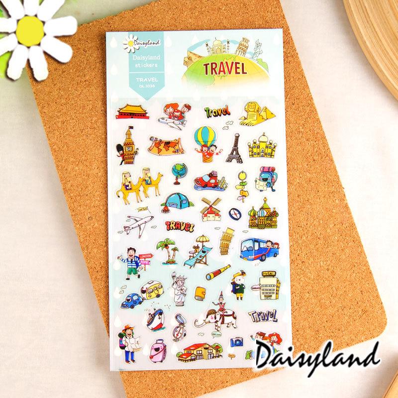 [Daisyland] Korean Green sticker pocket diary decorative stickers to travel around the world 1038<br><br>Aliexpress