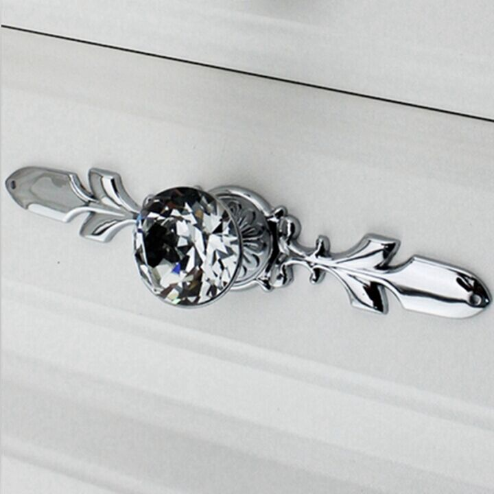 Fashion deluxe diamond drawer cabinet handle knob silver dresser wardrobe door pull glass crystal chrome furniture door handles