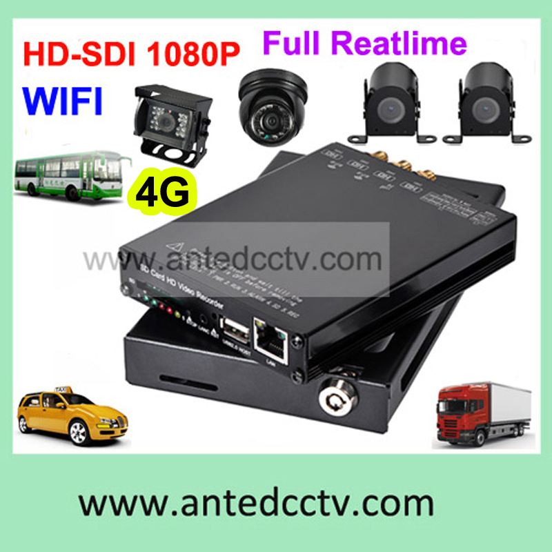 HD SDI 1080P 4CH 4G Vehicle Mobile DVR Bus Car CCTV Video Surveillance System with GPS tracking(China (Mainland))
