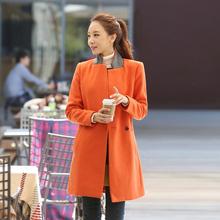New 2104 Autumn Fashion Ladies Overcoat Women Winter Coats Orange Ladies Outerwear Clothing Thick Warm Free Shipping