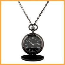 Sunshine New Classic Smooth black Dial Vintage Steel Watch Men Quartz Pocket Watch weight 46g chain