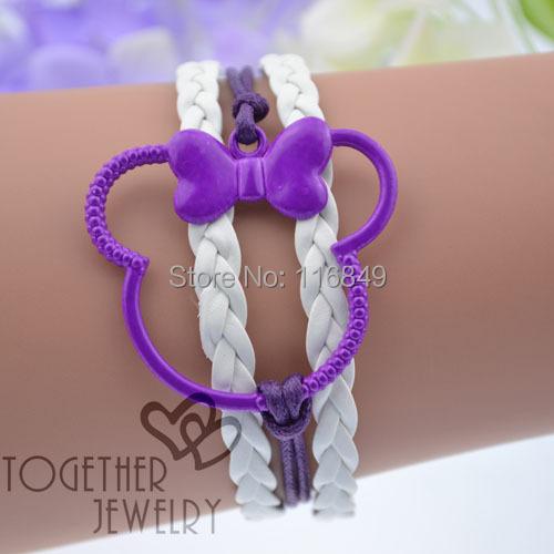 6pcs/lot mix colors 2016 New design colorful paint Micky Mouse bracelet cute bracelet for girl(China (Mainland))