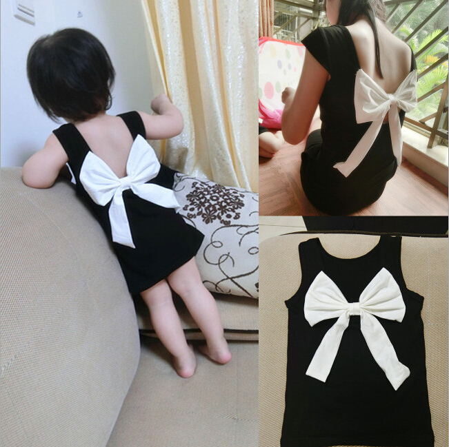 2015 Free Ship Summer Family Look Matching Mother Daughter Girl Clothes Outfits Mom And Daughter Dress Bow Backless Black Dress(China (Mainland))