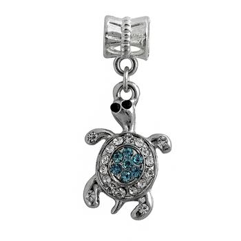 New Women Jewelry Silver Bead Charms European Tortoise full Crystla Pendant Fit Diy Pandora Bracelets & Bangles YW15516