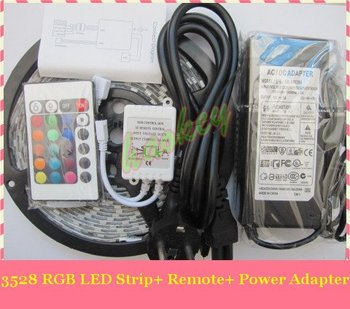 RGB LED Strip 3528 SMD led strip Light + Remote Control 24key + Adapter 12V 3A Free by China Post