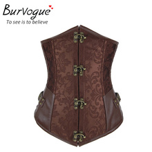 Burvogue New brown black corset gothic string sexy corset&bustiers underbust women waist training corselet cincher top(China (Mainland))