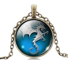 Vintage Glass Cabochon Bronze Pendant Necklace Summer Style Women Jewelry Fashion Dragon Statement Choker Necklace 2015