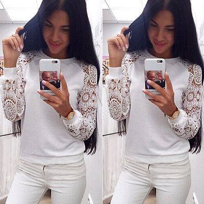 New 2015 Women Long Sleeve Lace Hoodies Sweet Casual Sweatershirt Pullover Knitwear White