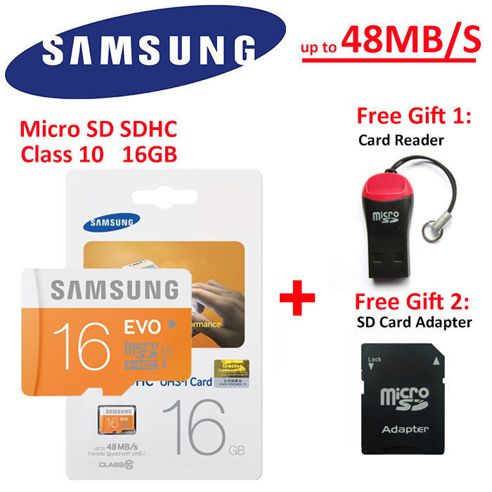 100% Genuine Samsung EVO micro SD SDHC TF Class 10 C10 Memory Card 16GB 16G 16 GB up to 48mb/s Support Official Verification(China (Mainland))