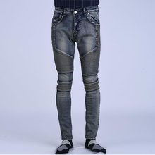 Runway Rider Mens Skinny Slim Fit Motorcycle Washed Vintage Ripped Washed Hip Hop Elastic Denim Pants Biker Jeans For Men(China (Mainland))