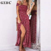 Buy GZDL Sexy Floral Print Summer Women Vintage Clubwear Dress Off Shoulder Split Boho Beach Party Club Long Dresses Vestidos CL3172 for $9.23 in AliExpress store