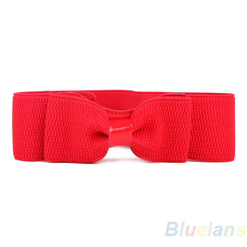 Fashion Lady Wide Elastic Stretch Bowknot Bow Tie Belt Waistband 4 Colors 09BH