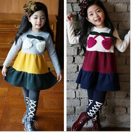2015 Spring new kids princess dress children dress girls Lovely strawberry colorful stripe falbala dress girls dresses 4641(China (Mainland))