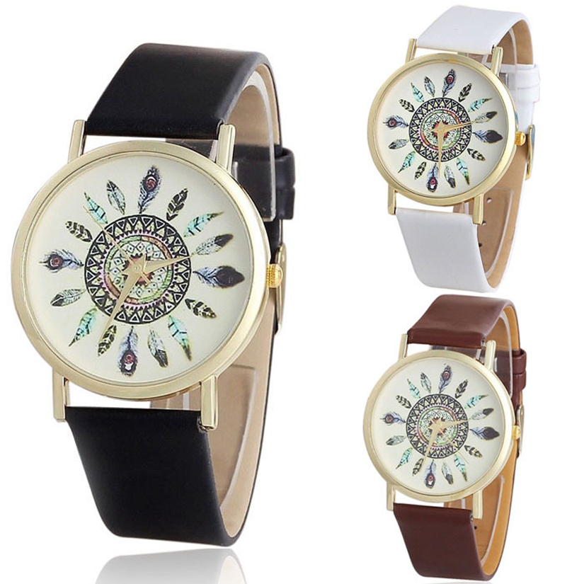 Гаджет  Hot Sales New Womens Vintage Feather Dial Leather Band Quartz Analog Unique Wrist Watches Free Shipping None Часы