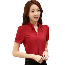 Summer elegant women's blouse white red black OL slim V-Neck short sleeve chiffon shirt office ladies plus size work wear tops(China (Mainland))