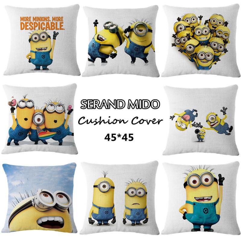 Square 45*45cm Children cushion cover cartoon print minion bed sofa decorative pillow covers home textiles fundas para cojines()