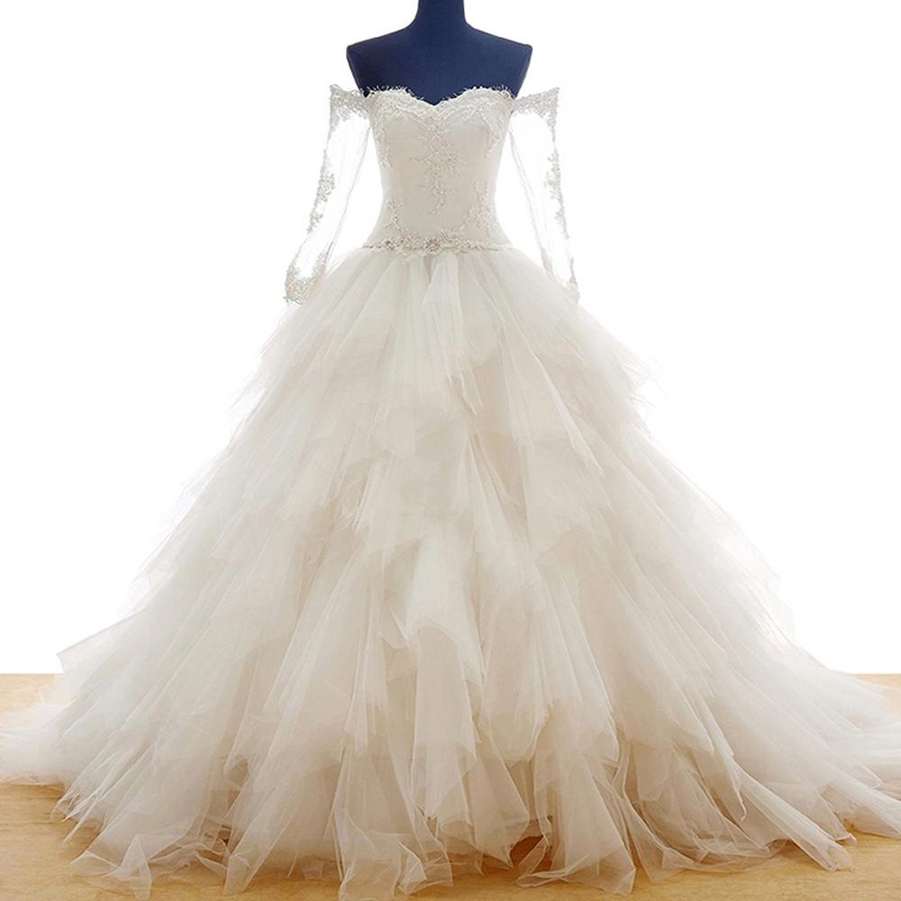 china ivory real sample wedding dress princess long train bridal gowns