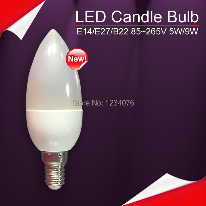 led candle lamp E14 5W 9W 12W spotlight 2835 warm /cool white 85-265V led bulb indoors E27 B22 chandlier partners super bright(China (Mainland))