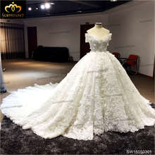 Hot sale Luxury Soft tulle hand made flower Off Shoulder Beads Crystal Royal train custom size Wedding Dresses 2016(China (Mainland))