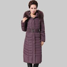 XL-6XL 2016 Fashion Nagymaros Collar Hooded Winter Women Down Coat Warm Slim With Belt Jacket Mother Dress Winter Jacket W0247