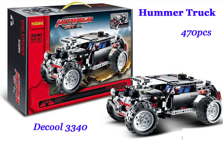 Decool 3340 New High Tech Series Transport Hummer SUV Model kits blocks 470pcs Truck Dune Buggy Building block sets toys(China (Mainland))