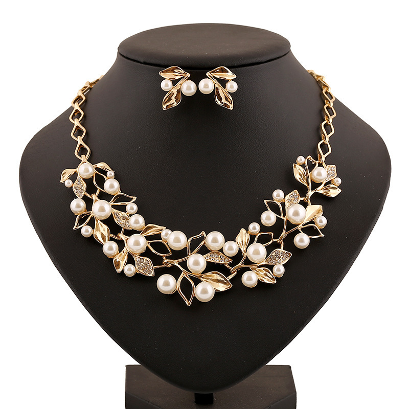 Golden/silver Jewelry Sets Graceful Clear Rhinestone Imitation Pearl Leaf Choker Necklace Wedding Earrings Women Set - Ailsa store
