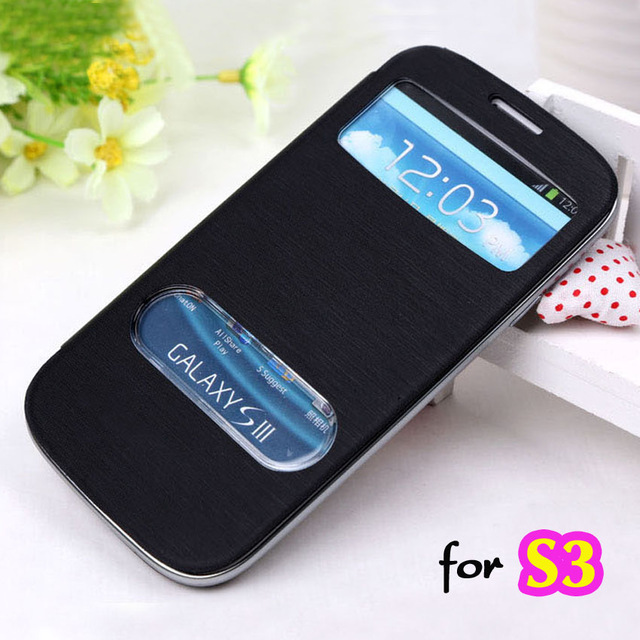 Slim View Original Battery Housing Leather Case Flip Cover Shell Holster For Samsung Galaxy S3 I9300 / S3 Neo I9300i / S3 Duos(China (Mainland))