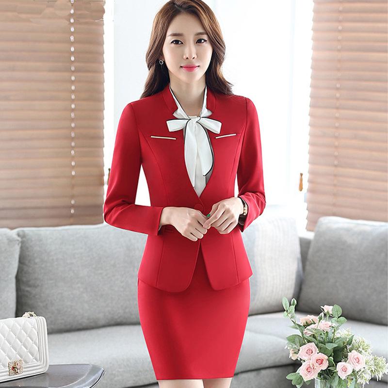 2017 Professional Formal Uniform Design Autumn winter Business Suits 3 pieces sets women Jackets + Skirt + blouse Ladies Blazers