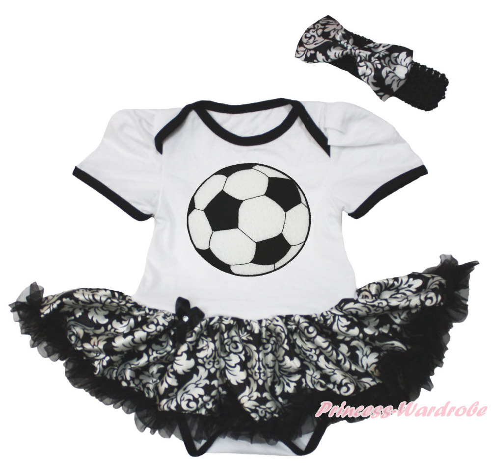 Football Ball Sports White Bodysuit Girl Damask Baby Dress Outfit Set NB-18Month(Hong Kong)