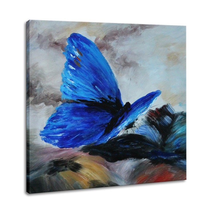 Modern Wall Art High Quality Animal Painting Blue Butterfly Oil Painting Pictures Decorated Bedrooms(China (Mainland))