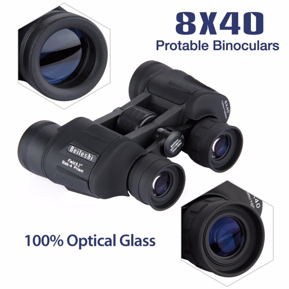 2015 New Portable 8X40 Binoculars 100% Optical Glass Black Outdoor Telescope for Sport Hiking Camping(China (Mainland))