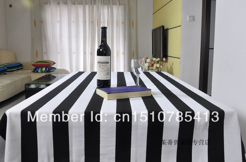 Free shipping black and white striped tablecloth 100% cotton kitchen table cloth rectangular 145*180cm toalha de mesa(China (Mainland))