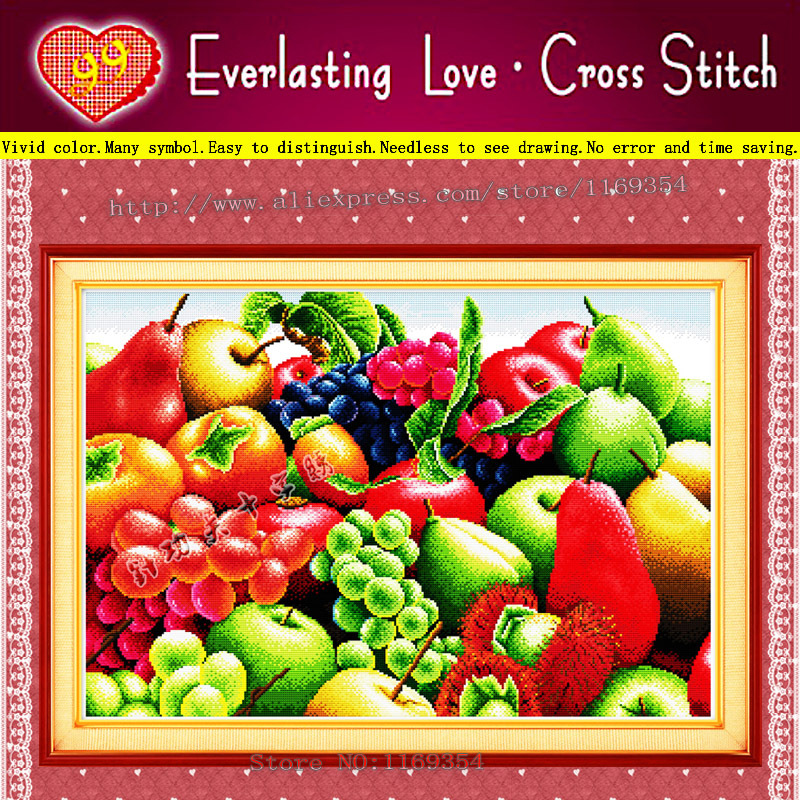 Tasty Fruits BIG size Free Shipping 11CT 100% Cotton cloth accurate printed embroidery cross-stitch kits DIY picture needlework(China (Mainland))