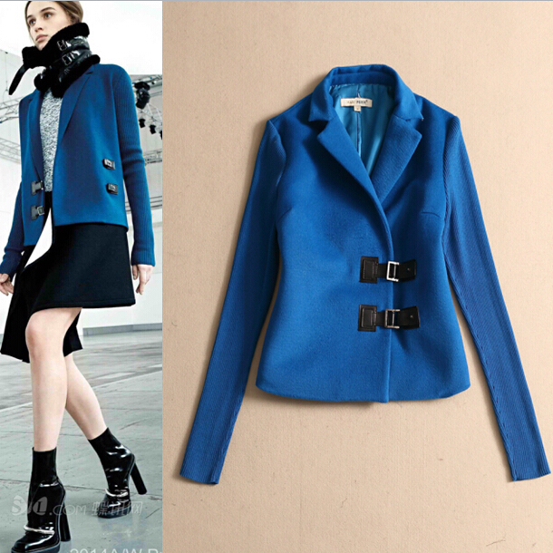 Women Hot Sale Free Shipping Fall&amp;Winter 2014 Stripe Long Sleeve Woolen Notched Patchwork Leather Button Elegant Blue JacketОдежда и ак�е��уары<br><br><br>Aliexpress