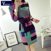 Vangull 2016 Winter NewLlong-sleeved Plaid Wool Dress Slim Bottoming Woolen With Belt(China (Mainland))